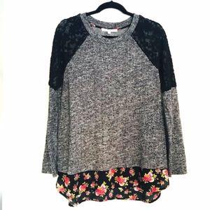 Daniel Rainn | Black Rainn Floral Layered Sweater